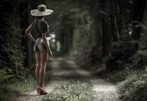 девушка, дорога, лес, шляпа, стоит