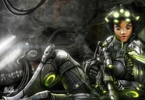 Обои starcraft, девушка, броня, оружие, костюм, фонари, солдат, дым
