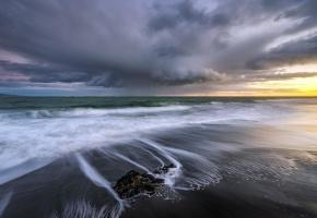 море, небо, пейзаж, волны, закат, пена, песок