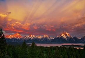 Обои США, национальный парк Гранд-Титон, штат Вайоминг, утро, горы, небо, лес, озеро