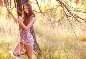 Обои девушка, качели, природа, волосы, платье