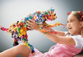 девочка, кот, разноцветный, радость