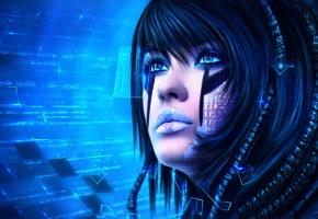 фантастика, арт, Sci-Fi, девушка, лицо, взгляд, технологии
