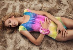 девушка, лето, купальник, разноцветный, песок