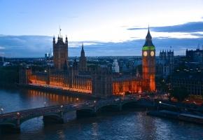 Обои Англия, Лондон, вечер, мост, сумерки, огни, люди