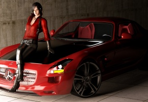 fan art, Ada, Resident Evil, Mercedes Benz, SLS AMG, roadster, девушка, машина, в красном, рендер