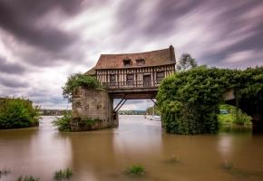 france, vernon, Франция, Вернон, дом, мост, река
