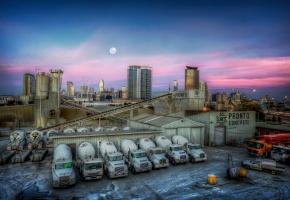 закат, город, завод, машины
