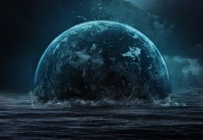 море, волны, планета, тучи, мрак