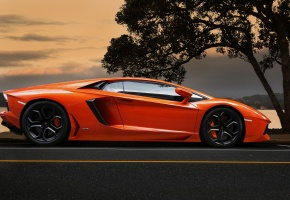 ���� lamborghini, aventador, orange, supercar, ����������, ���������, ���������, ��������