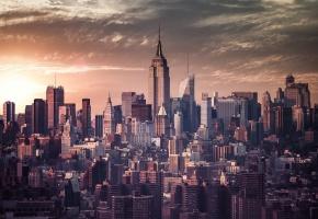 Города, new york, мегаполиса, пасмурный день