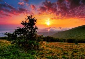 США, Северная Каролина, утро, небо, облака, солнце, лучи, горы, холмы