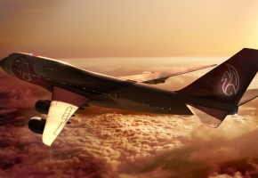 Обои Боинг, Boeing, 747, Самолет, Высота, Полет, Небо, Облака, Солнце, Лучи, Закат