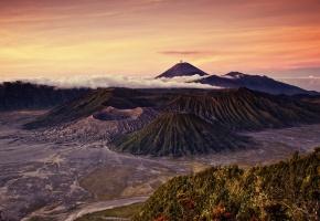 пейзаж, вулканы Индонезия, горы, поля