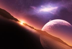 вода, планета, закат, небо, звезды, солнце, отражение, горы