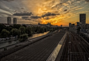 Обои stockholm, город, закат, дорога, мост, дома