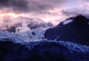 Обои горы, вершины гор, туман, снег, высота