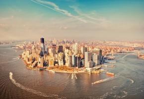 Нью-йорк, new york, манхэттан, корабли, река, Гудзон