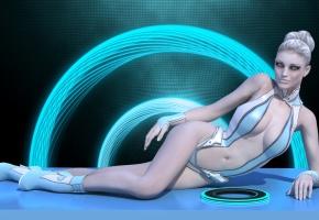 Обои Tron, девушка, лежит, костюм, диск