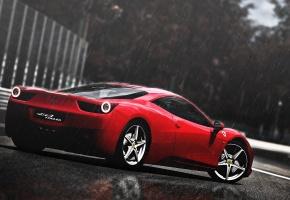 дождь, феррари, Ferrari 458 italia, спортивный, красный