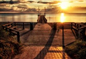 Обои закат, море, мост, пейзаж, пристань