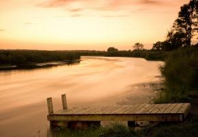 Обои река, мост, пейзаж, закат, деревья, отражение