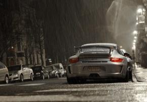 Обои GT3, ночь, дождь. улица, Porsche