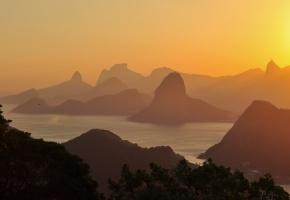 Бразилия, закат, золотой, море, небо, горы, холмы