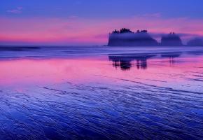 Обои США, штат Вашингтон, Тихий океан, вода, берег, скалы, вечер, розовый, закат, облака, синее, небо, отражение