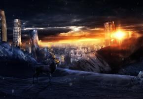 апокалипсис, разрушенный город, тучи, олень, арт