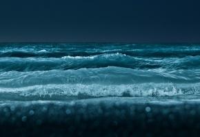 Обои море, океан, волны, пена, вода, темная