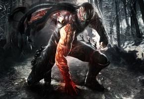 Обои Ninja Gaiden, парень, ниндзя, доспехи, маска, оружие, дождь, кровь