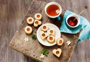 печенье, чай, сладкое, формы, цветы, сердце, пить, чашка