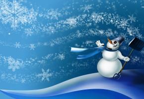 ведро, лопата, ветер, Снежинки, сугробы, шарф, снеговик