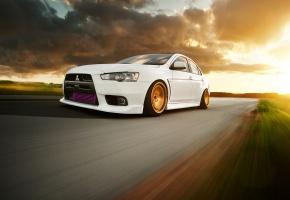 Обои Mitsubishi, Lancer, Evolution, X, Автомобиль, Митсубиши, Лансер, Эволюшен, скорость