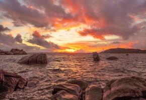 море, скалы, камни, закат