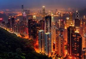 город, Hong Kong, Азия, вечер, ночь, огни