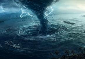 Обои шторм, cataclysm, вихрь, рендер, desktopography, корабли, молнии