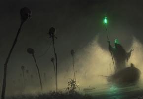 Обои туман, лодка, капюшон, перевозчик, посох, зеленый, свет, черепа