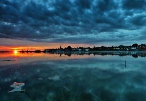 закат, озеро, пейзаж, вода, городок