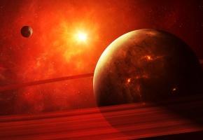 Обои apocalypse, planet, red, планеты, красный, кольца, взрыв