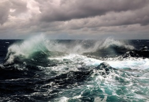 волны, океан, облака, небо, шторм, вода, брызги