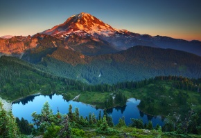 парк, горы, пейзаж, США, озеро, лес, деревья