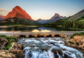 горы, река, мост, Montana, озеро, лес