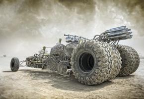Обои Mad, Max, большие колеса, трубы, пыль, внедорожник