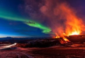 Обои Fimmvorduhals, Iceland, Исландия, горы, извержение вулкана, северное сияние, стихия