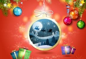 Обои лес, ёлки, Олени, дед мороз, подарки, снежинки