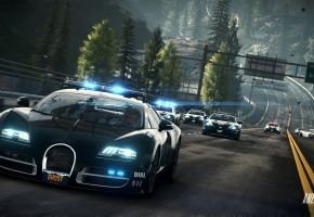 Обои NFS, Police, Bugatti Veyron, полиция, бугатти, погоня, дорога