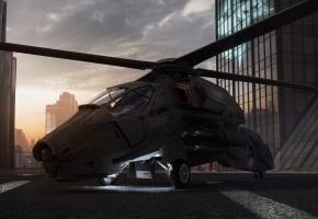 вертолет, крыша, лопасти, закат, офис, здания