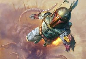 Обои Star Wars, шлем, полет, оружие, щупальца